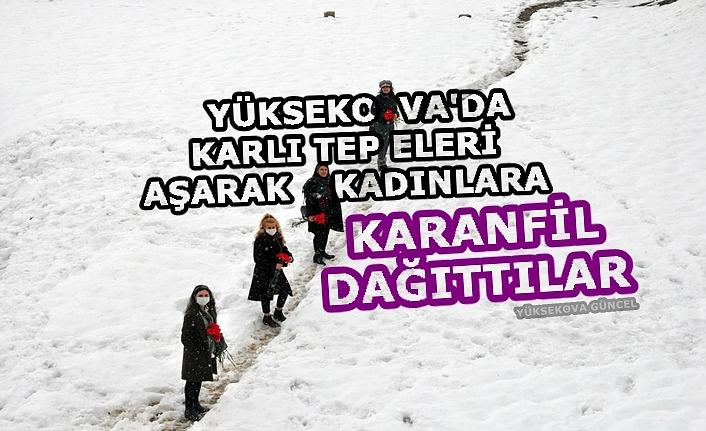 Yüksekova'da Karlı tepeleri aşarak kadınlara karanfil dağıttılar
