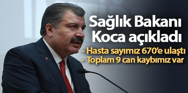 Bakan Koca: Türkiye'de Korona'da Hayatını Kaybeden Sayısı 9 Oldu