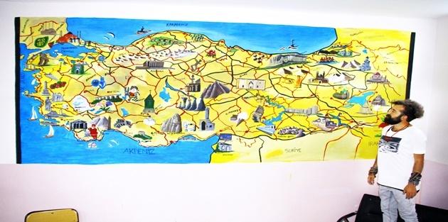 Esendere Beldesinde Türkiye Haritasını Çizdi