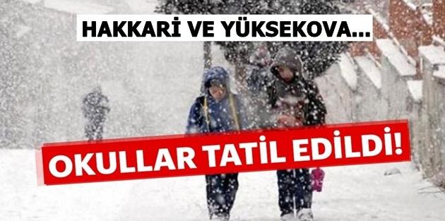 Hakkari ve Yüksekova'da Okullar Tatil