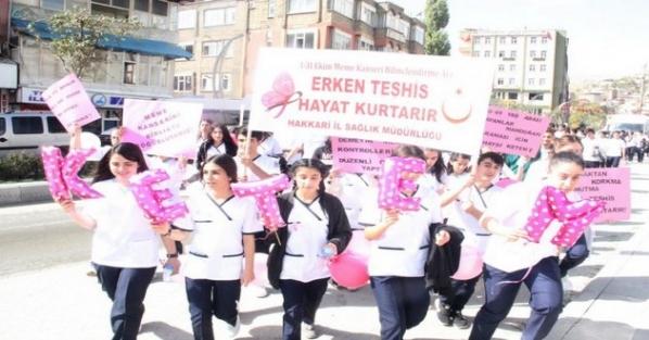 Hakkari'de meme kanseri farkındalık yürüyüşü