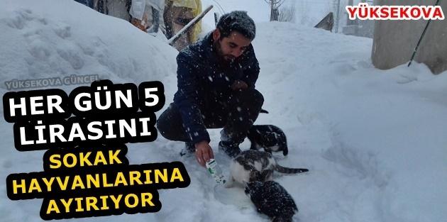 Her gün 5 lirasını sokak hayvanlarına ayırıyor
