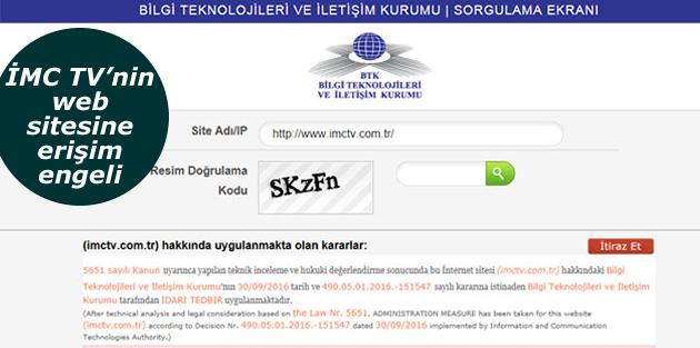 İMC TV'nin web sitesine erişim engeli