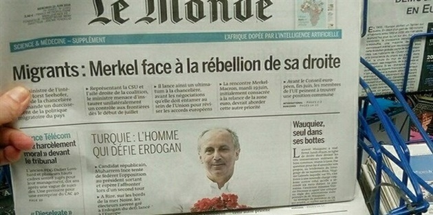 İnce, Le Monde'un kapağında