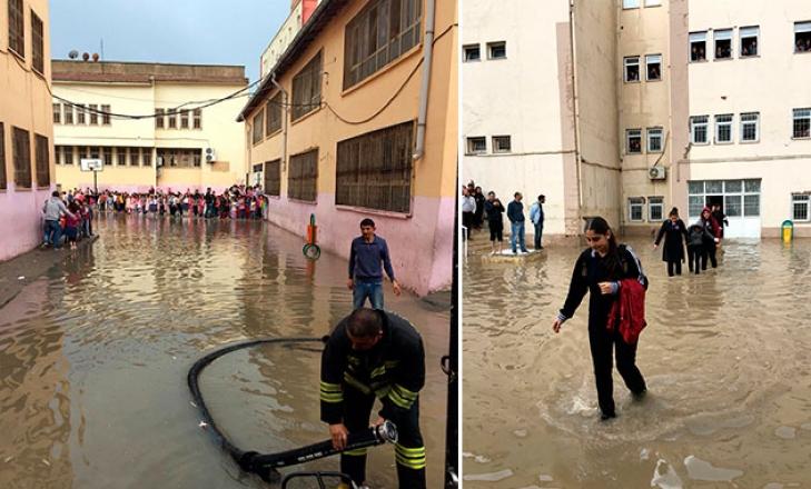 Kızıltepe'de sağanak; kerpiç ev çöktü, okulda mahsur kalan öğrenciler kurtarıldı
