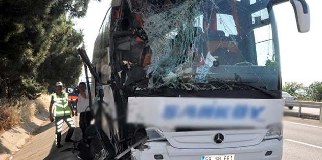 Tekirdağ'da yolcu otobüsü tankere çarptı: 10 yaralı