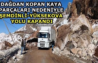 Dağdan kopan kayalar Şemdinli yolunu ulaşıma kapattı
