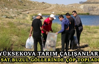 Yüksekova Tarım Çalışanları Sat Buzul Göllerinde Çöp Topladı
