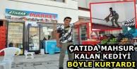 Yüksekova: Çatıda Mahsur Kalan Kediyi Böyle Kurtardı