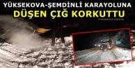 Yüksekova-Şemdinli Karayoluna Düşen Çığ Korkuttu