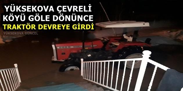 Yüksekova Çevreli Köyü Göle Dönünce Traktör Devreye Girdi