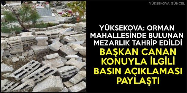 Yüksekova: Orman Mahallesinde Bulunan Mezarlık Tahrip Edildi