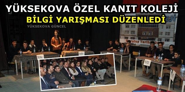Yüksekova Özel Kanıt Koleji Bilgi Yarışması Düzenledi
