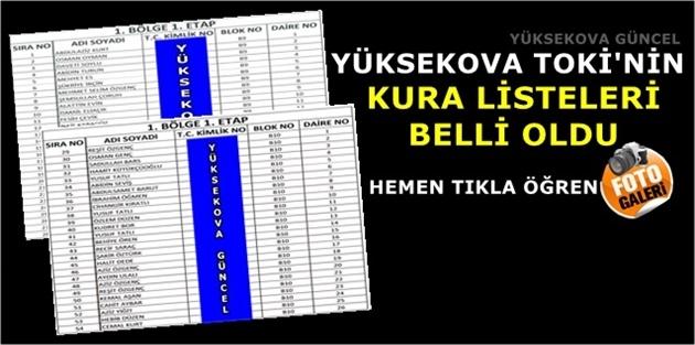 Yüksekova TOKİ'nin Kura Listeleri Belli Oldu