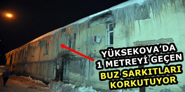 Yüksekova'da 1 Metreyi Geçen Buz Sarkıtları Korkutuyor
