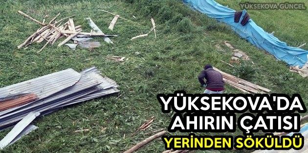 Yüksekova'da Ahırın Çatısı Yerinden Söküldü