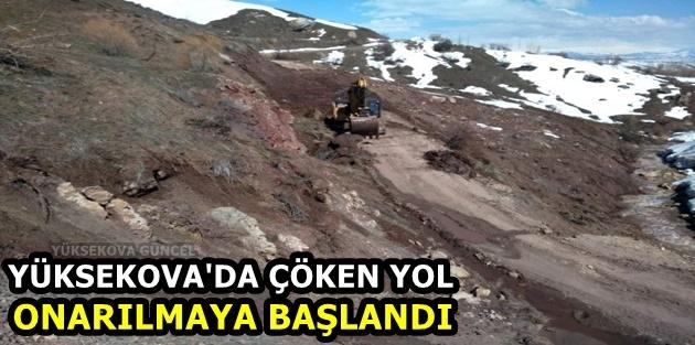 Yüksekova'da Çöken Yol Onarılmaya Başlandı