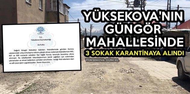 Yüksekova'da Güngör Mahallesinde 3 Sokak Karantinaya Alındı