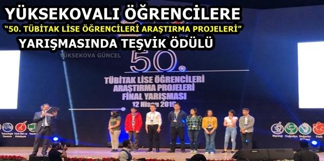 """Yüksekovalı öğrencilere """"50. TÜBİTAK lise öğrencileri araştırma projeleri"""" yarışmasında teşvik ödülü"""