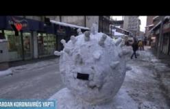 Yüksekovalı Esnaflar Kardan Koronavirüs Yaptılar