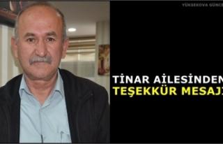 Tinar Ailesinden Teşekkür Mesajı