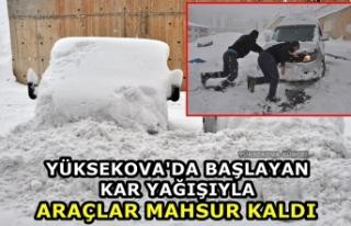 Yüksekova'da Başlayan Kar Yağışıyla Araçlar...