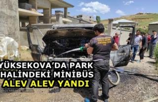 Yüksekova'da Park Halindeki Minibüs Alev Alev...
