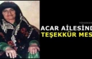 Acar Ailesinden Teşekkür Mesajı