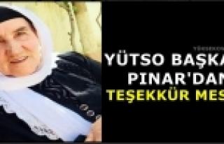 YÜTSO Başkanı Pınar'dan Teşekkür Mesajı