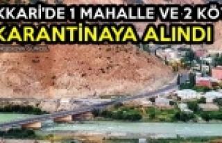 Hakkari'de 1 Mahalle ve 2 Köy Karantinaya Alındı