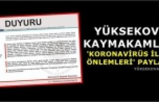 Yüksekova Kaymakamlığı 'Koronavirüs İlgili Önlemleri'...