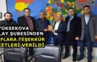 Yüksekova Kızılay Şubesinden Duyarlı Esnafa Plaket...