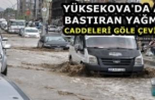 Yüksekova'da Aniden Bastıran Yağmur Caddeleri Gölete...