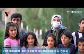 Yüksekova: 2 Bin 500 Rakımlı Tepede  Eba'ya Bağlanarak Ders İşliyorlar